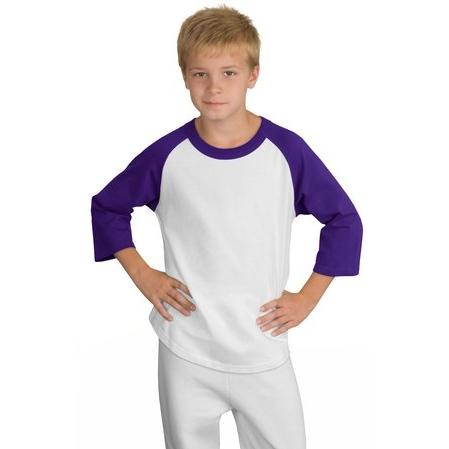 Sport-Tek Youth Colorblock Raglan Jersey Shirt Large - White/Purple