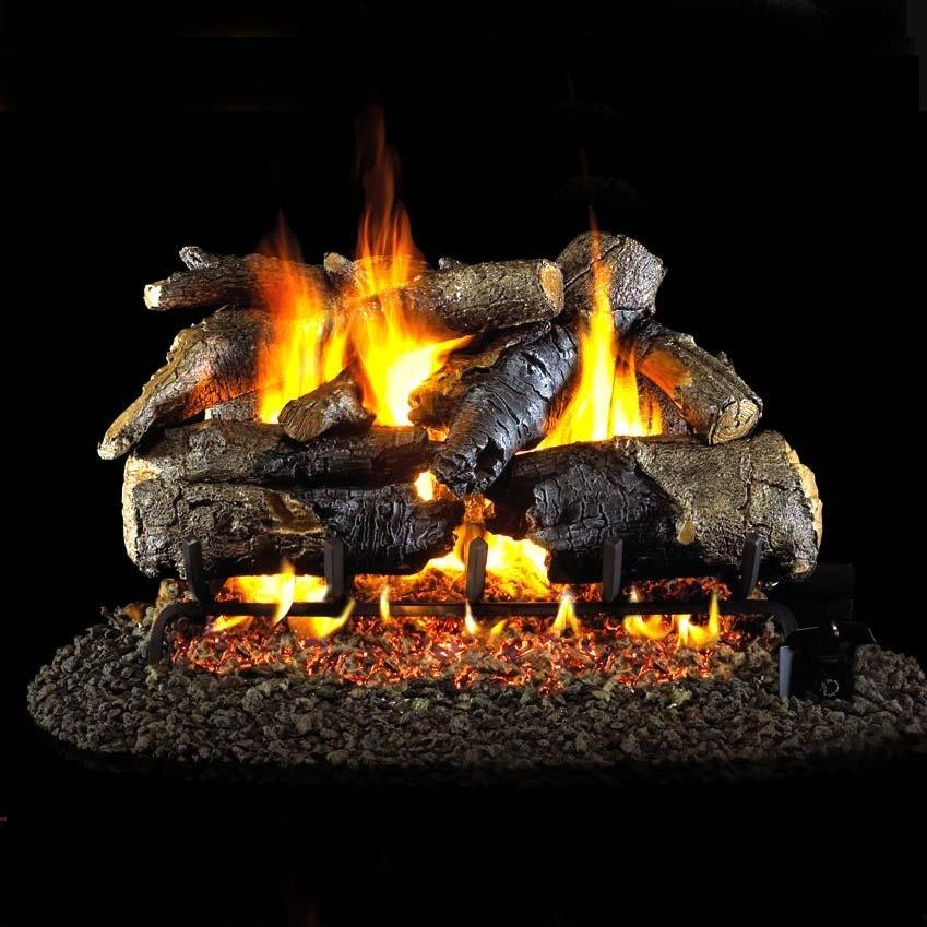 Peterson Real Fyre 24-inch Charred American Oak Log Set With Vented Propane Ansi Certified G46 Burner - Electronic On/Off Remote at Sears.com
