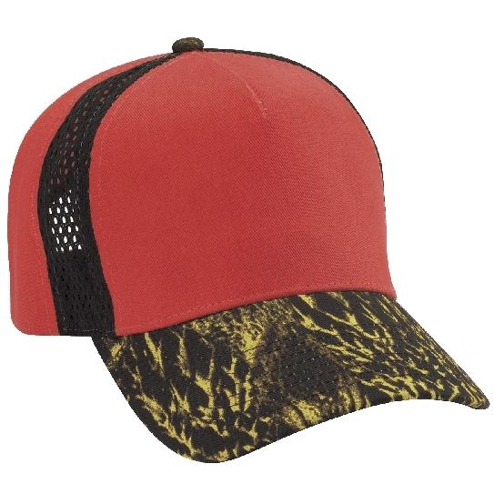 Cobra Caps FeatherFlage Jersey Mesh Insert Camo Cap - Flame Orange/Black/DC