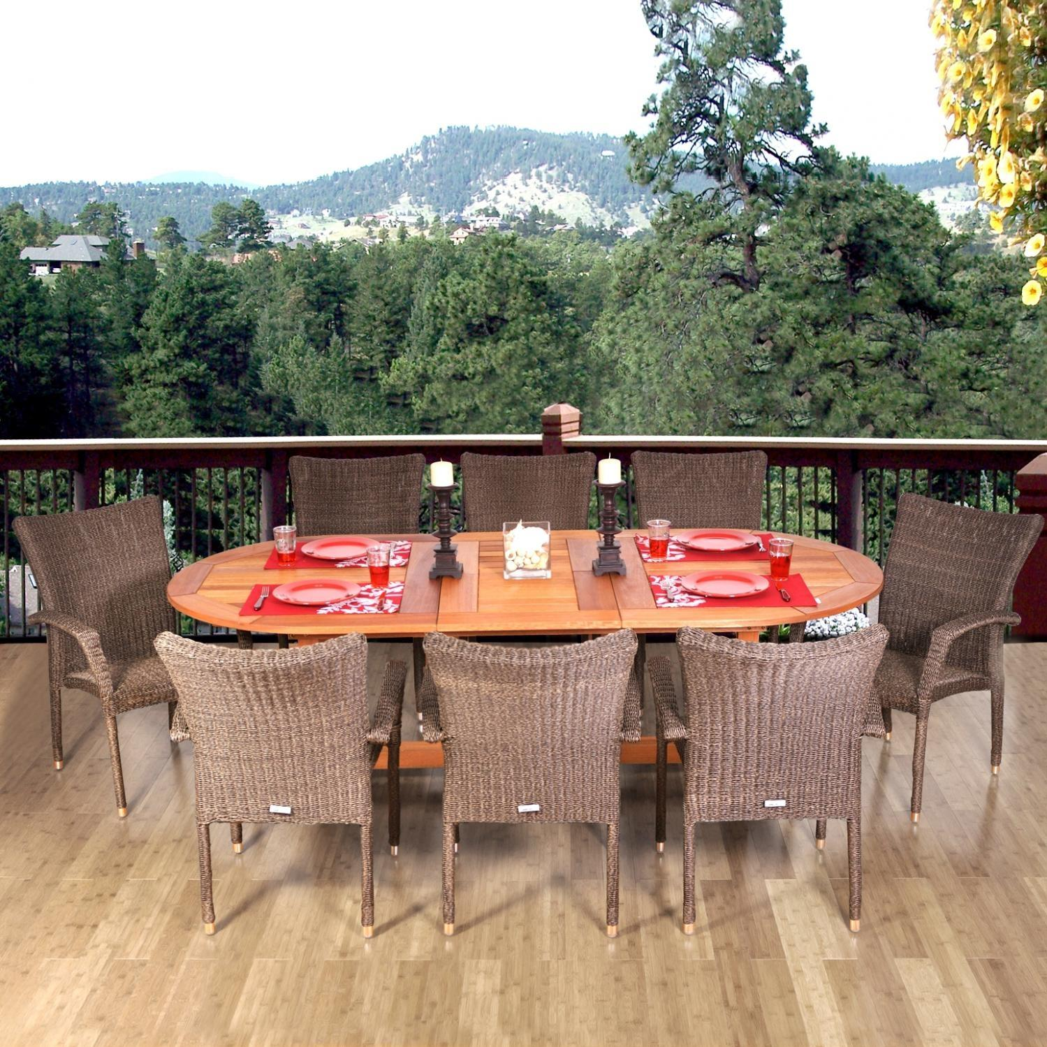 Amazonia Rennaisance 8-Person Resin Wicker Patio Dining Set With Extension Table And Stacking Chairs 2866264