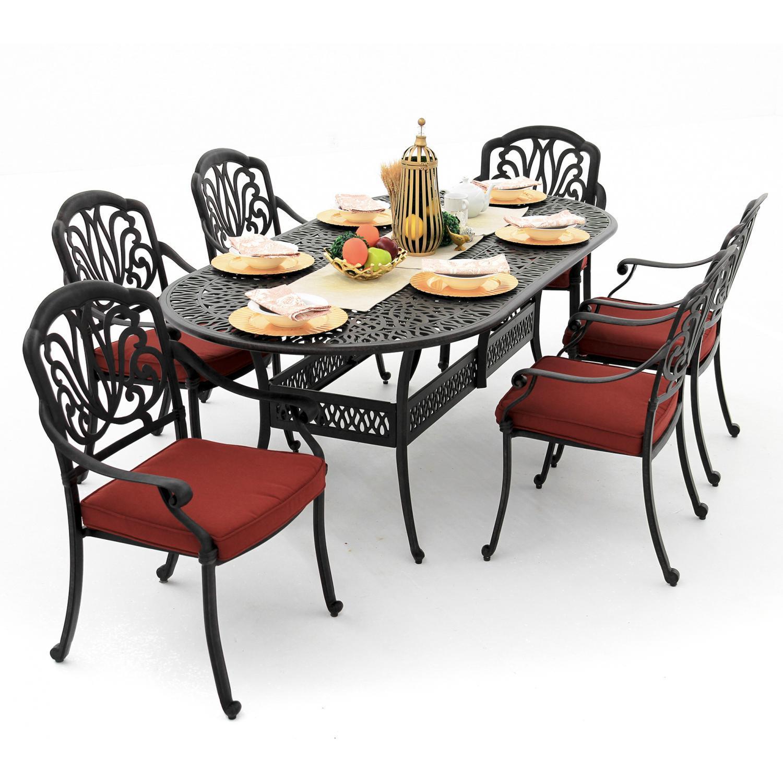 Rosedown 7 Piece Cast Aluminum Patio Dining Set With 86 X...