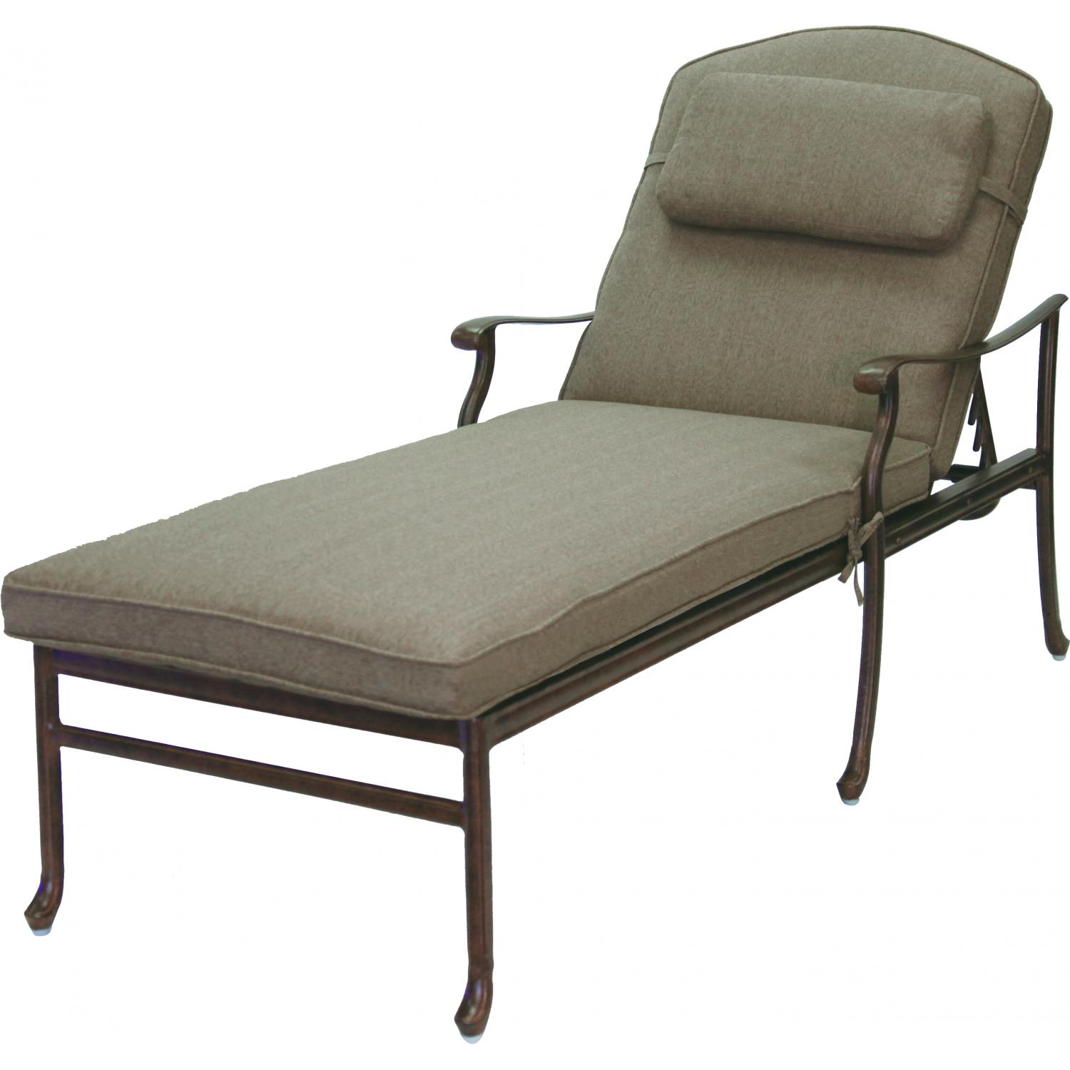 Darlee sedona cast aluminum patio chaise lounge antique for Bronze chaise lounge