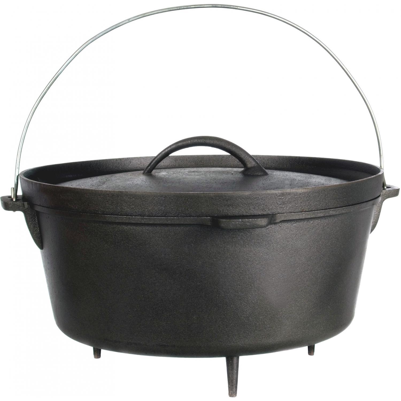 Cajun Cookware Pots With Legs 16 Quart Seasoned Cast Iron Camp Pot