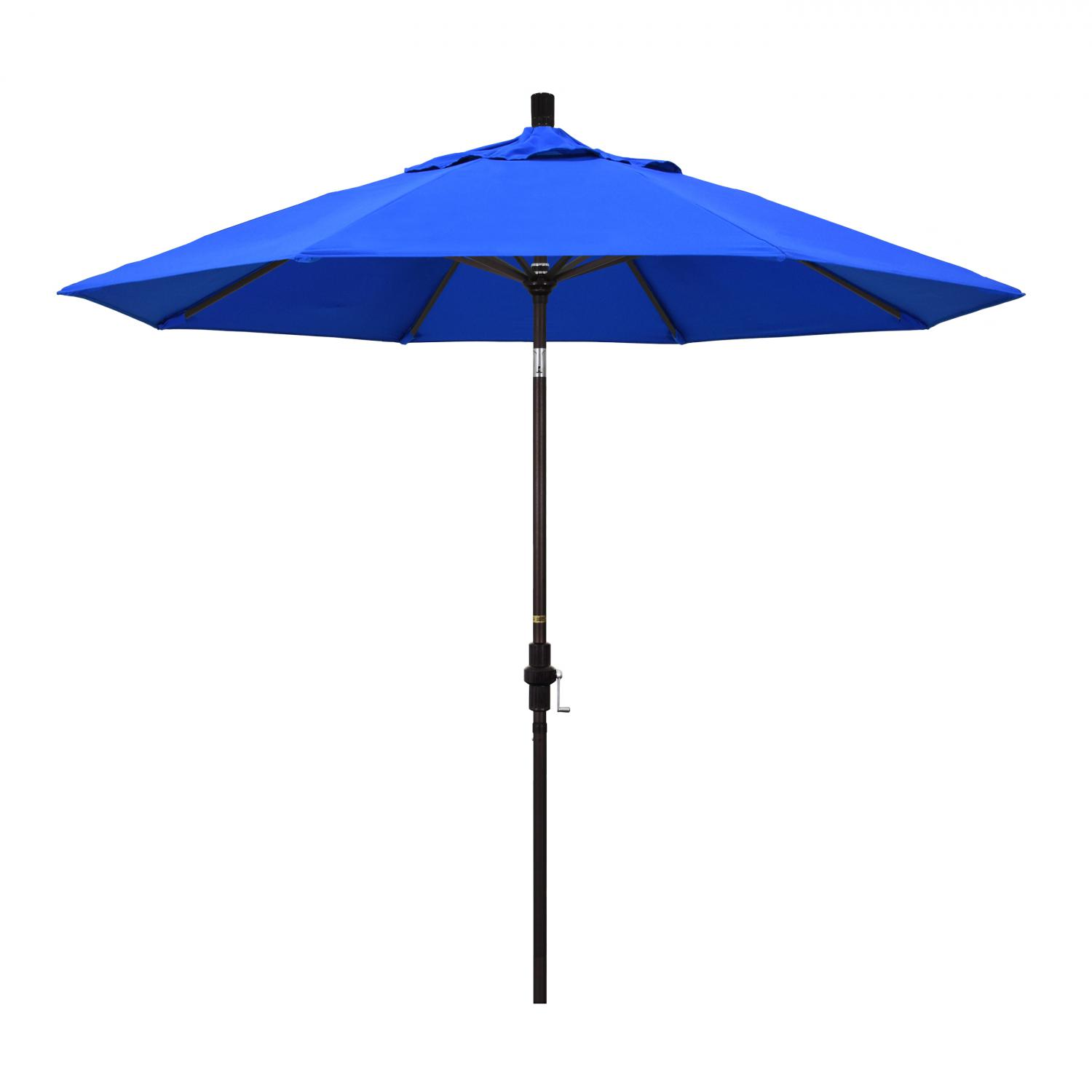 California Umbrella 9 Ft. Octagonal Aluminum Collar Tilt Patio Umbrella W/ Crank Lift & Aluminum Ribs