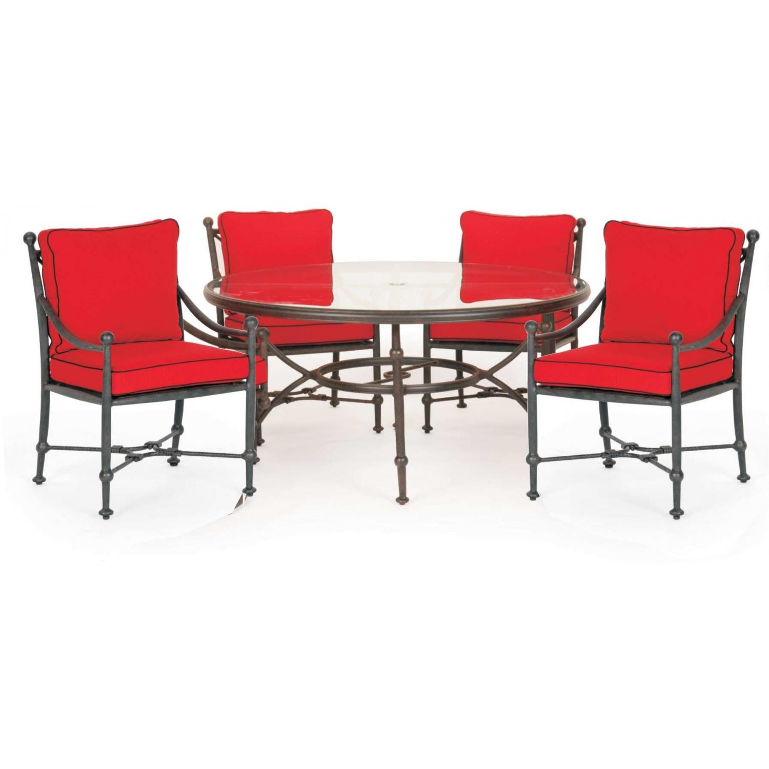 Caluco Origin Aluminum 48 Inch Round Dining Set With Arm Chairs