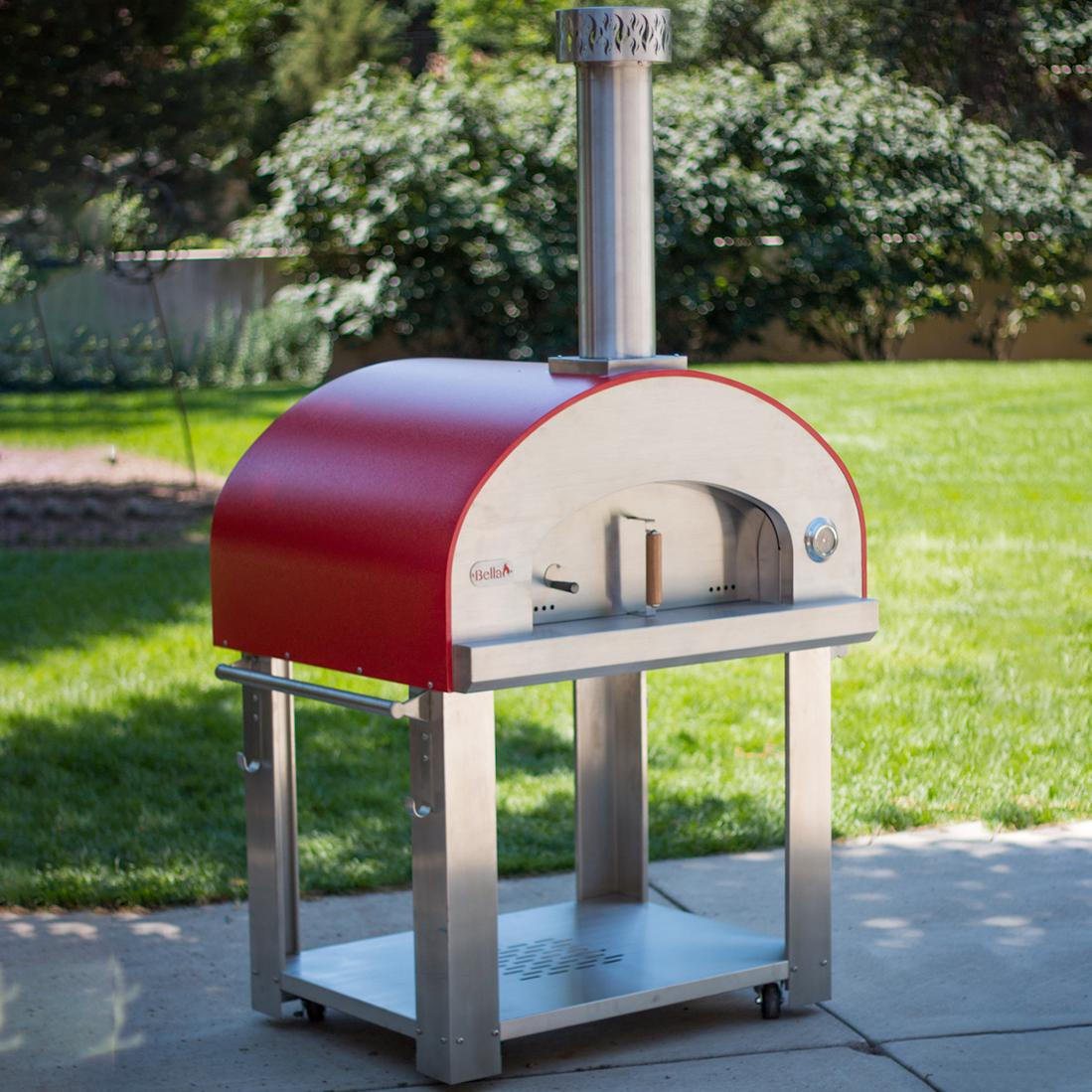 "Bella Outdoor Living Bella Grande 36"" Outdoor Wood-fired Pizza Oven On Cart - Red - Begs36r"