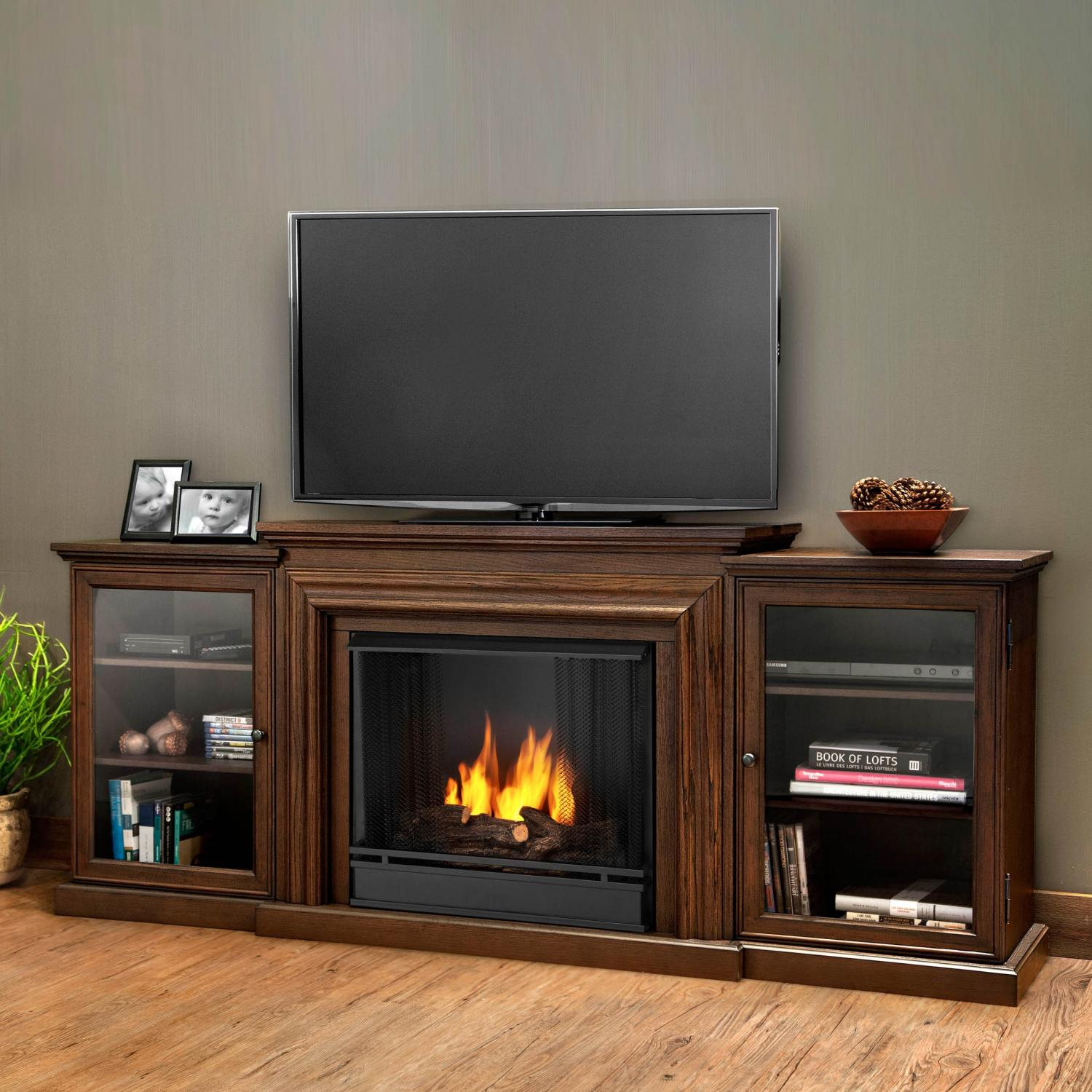 Real Flame Frederick 72-Inch Gel Fireplace Media Console - Blackwash