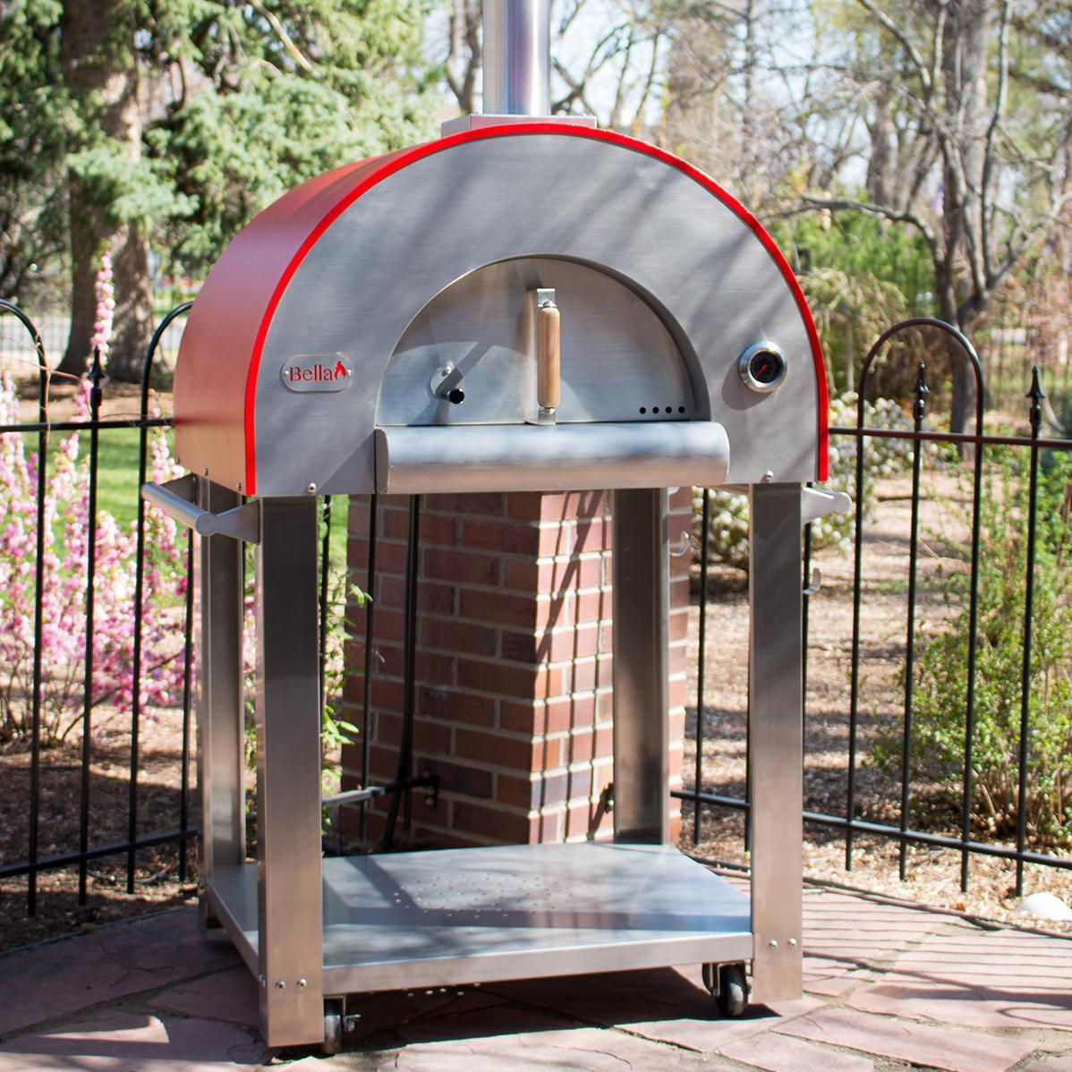 "Bella Outdoor Living Bella Medio 28"" Outdoor Wood-fired Pizza Oven On Cart - Red - Bems28r"