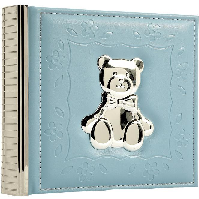 Elegant Baby Faux Leather Silver-plated Photo Album - Blue