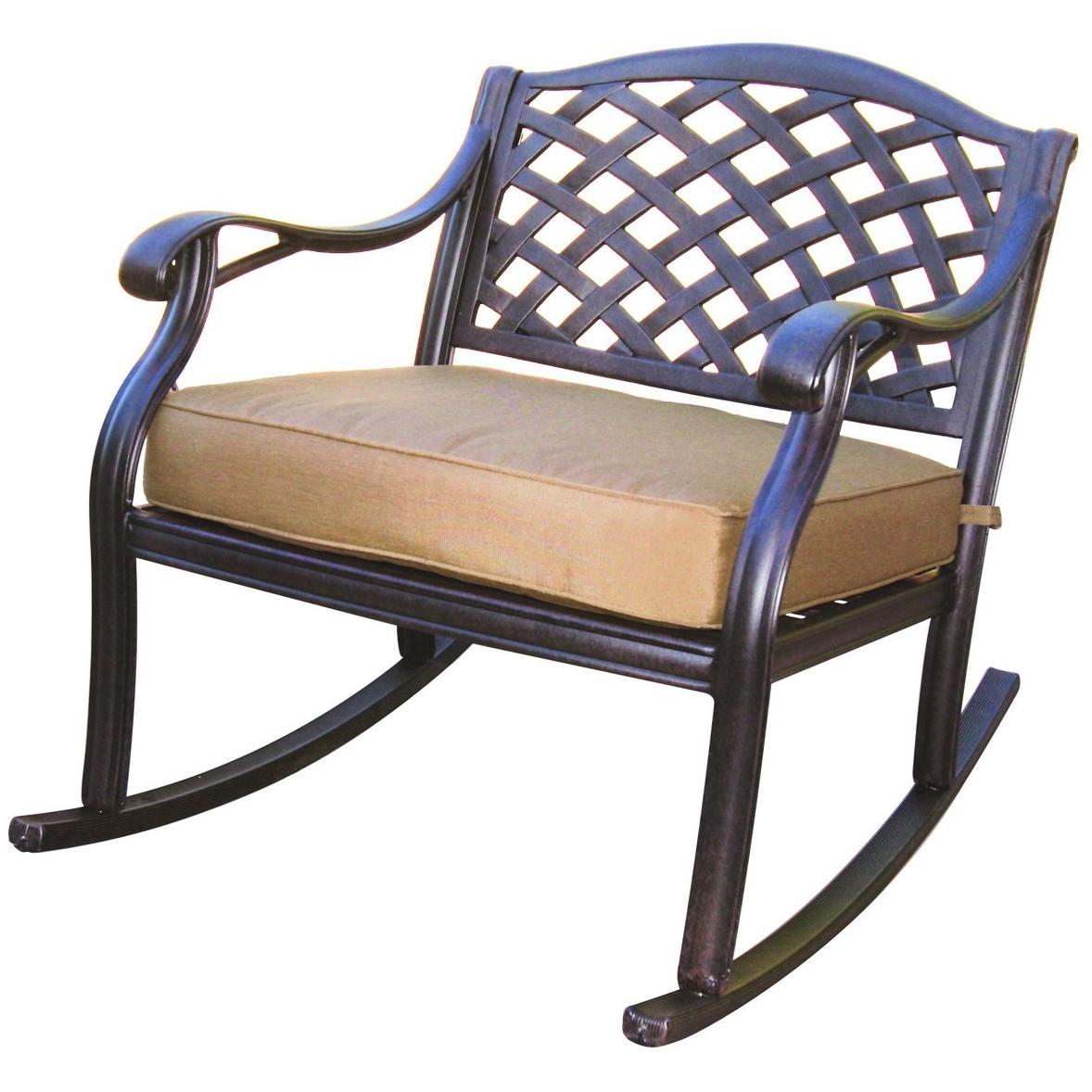 Darlee Nassau Cast Aluminum Outdoor Patio Club Rocker With Cushions - Antique Bronze