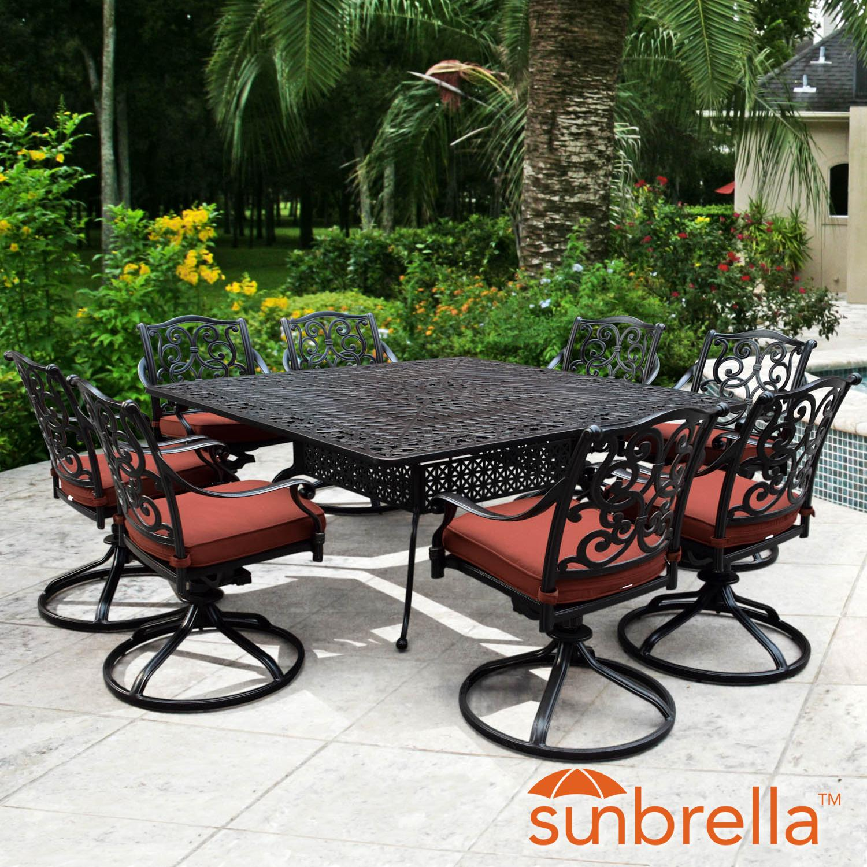 Villa Flora 9 Piece Cast Aluminum Patio Dining Set W/ Squ...
