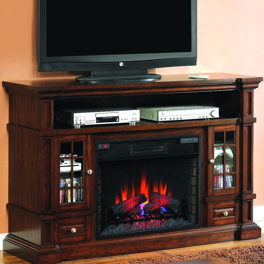 Belmont 60-inch Electric Fireplace Media Console - Caramel Oak - 28mm6240