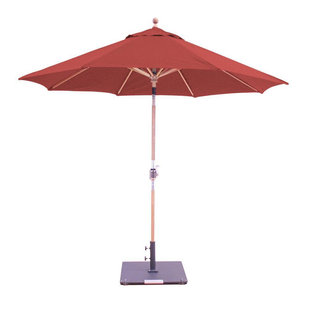 Galtech 9 Ft. Octagonal Teak Patio Market Umbrella W/ Cra...