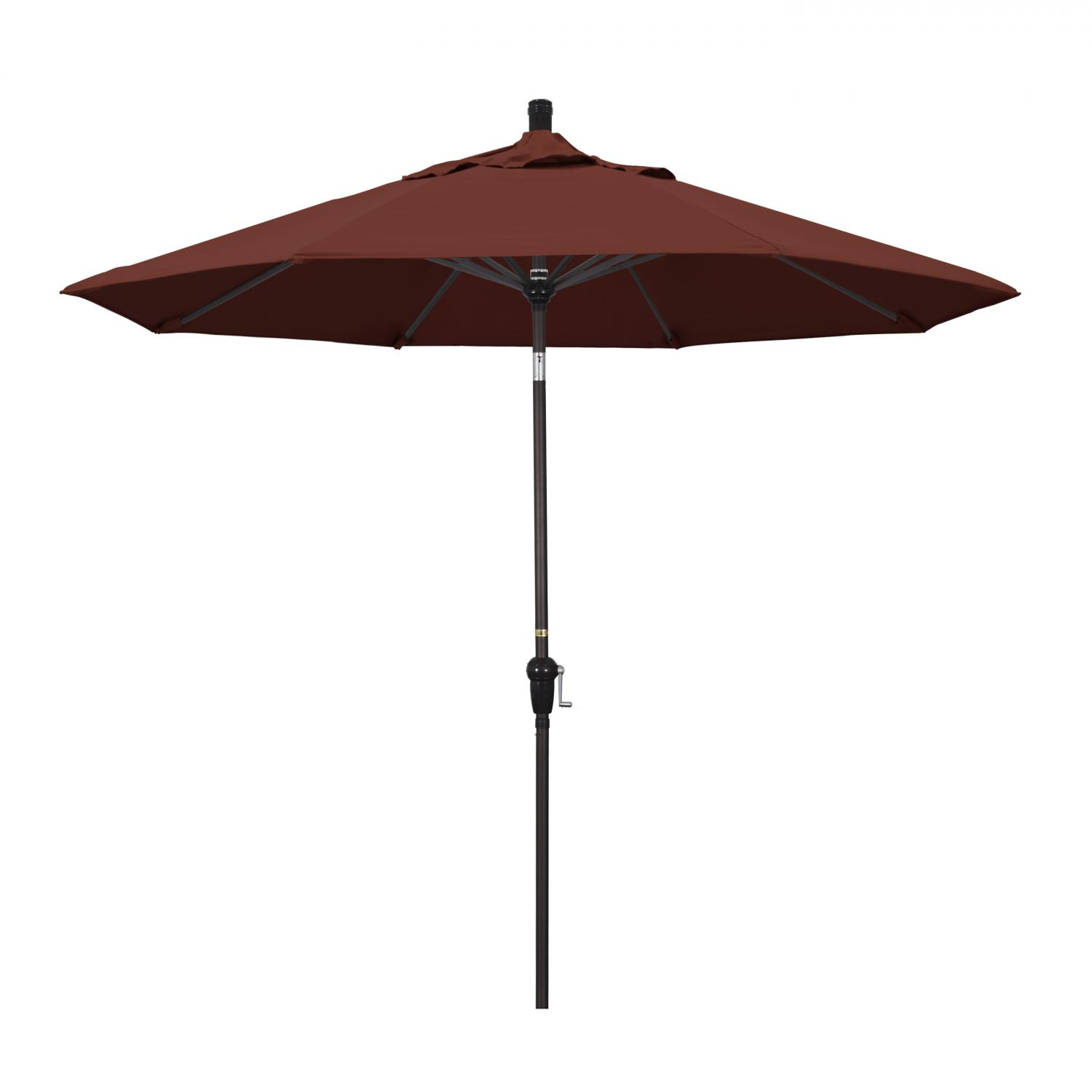 California Umbrella 9 Ft. Octagonal Aluminum Auto Tilt Patio Umbrella W/ Crank Lift & Aluminum Ribs - Bronze Frame / Sunbrella Canvas Henna Canopy