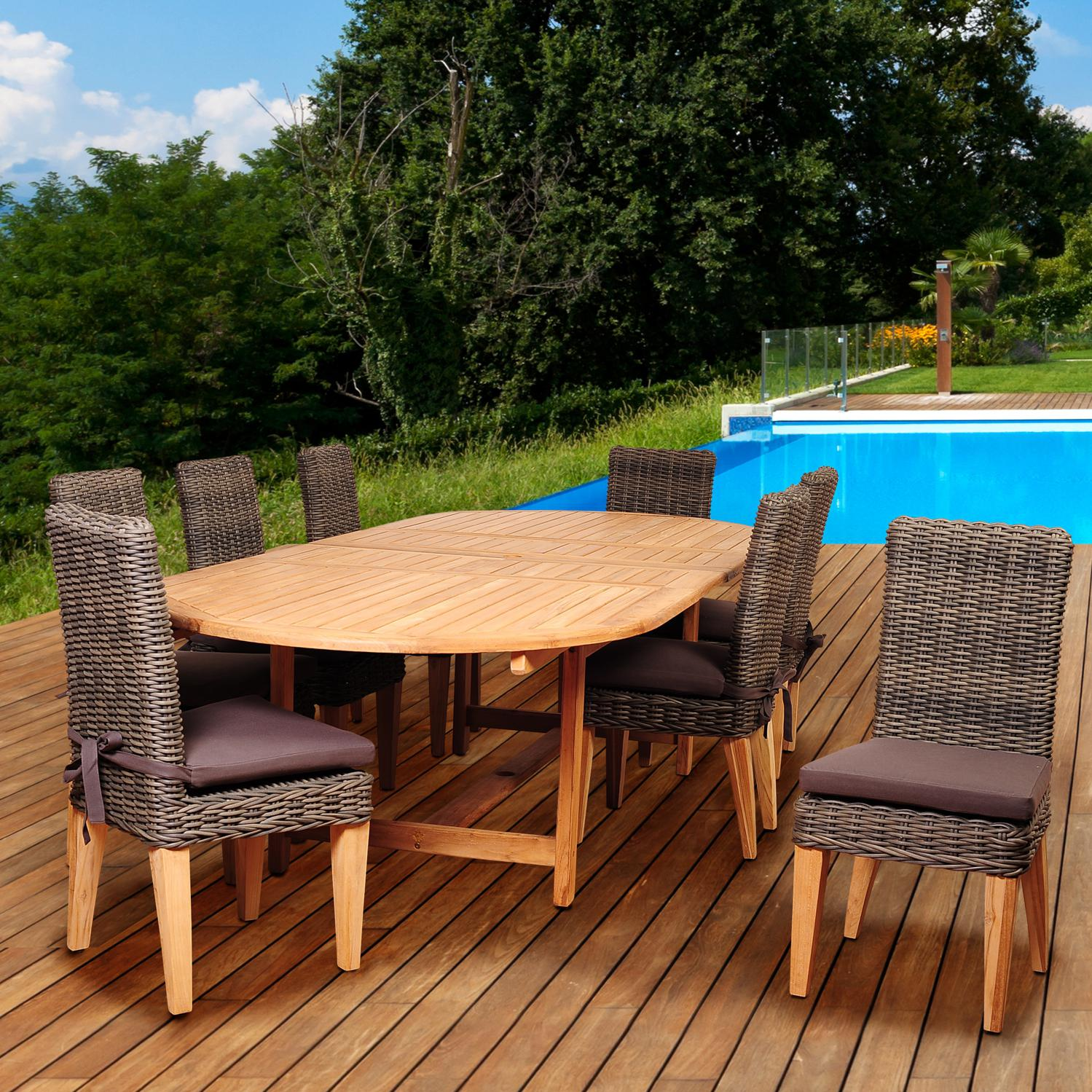 Amazonia Singapore 8-person Resin Wicker Patio Dining Set With Teak Extension Table