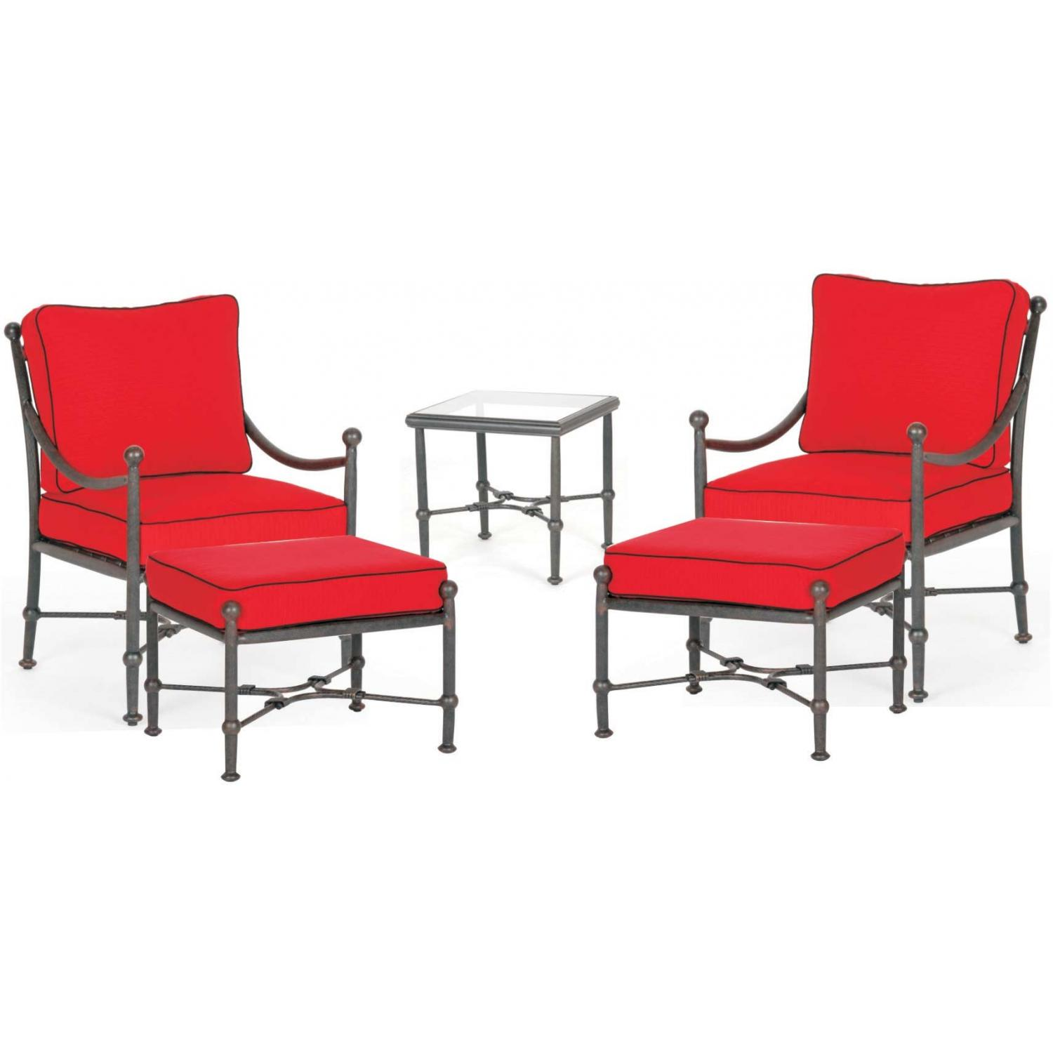 Caluco Origin Aluminum Club Chair Lounge Set With Ottomans