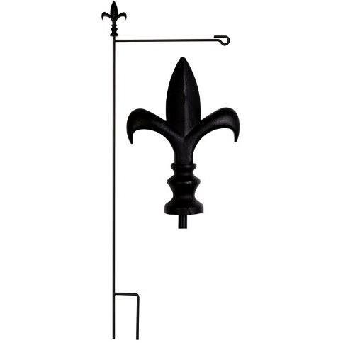 Evergreen Fleur-de-Lis Garden Flag Stand - Black
