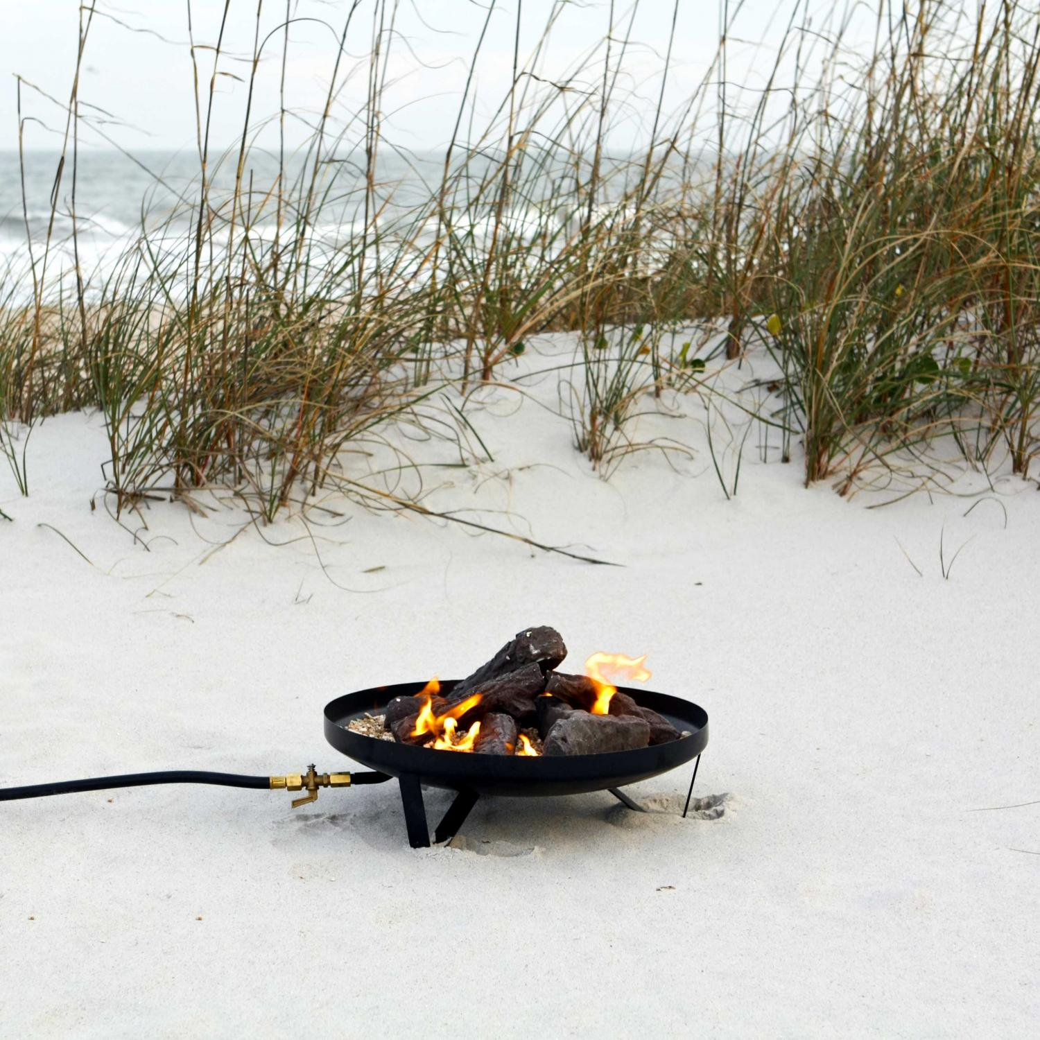 Fire Sense New Frontier Campfire Propane Fire Pit With Aluminum Top And Ceramic Log Set
