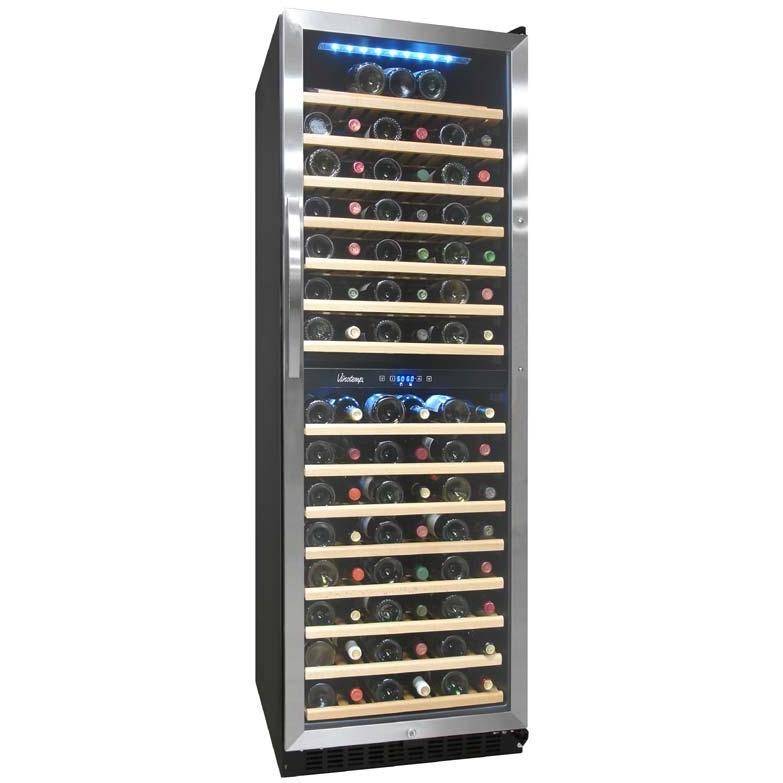Vinotemp VT-155SBW 155 Bottle Built-In / Freestanding Dual-Zone Touch Screen Wine Cooler - Glass Door / Stainless Steel Trim