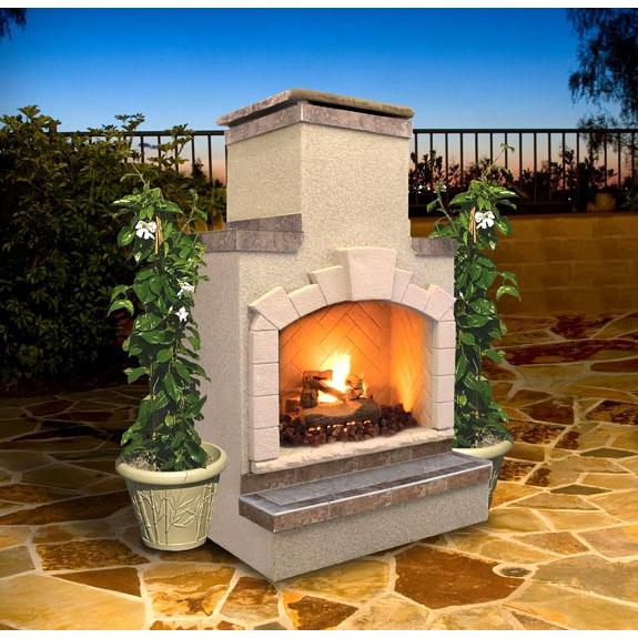 Cal Flame 48 Inch Outdoor Natural Gas Fireplace With Standard Chimney