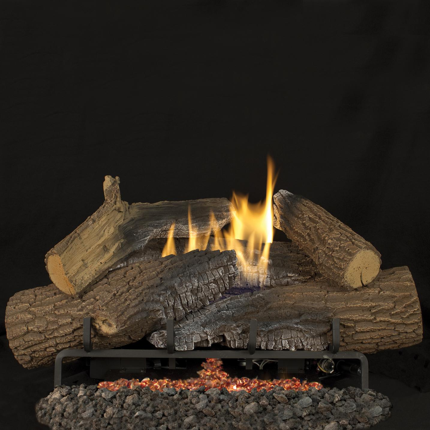 superior fireplaces 24 inch rugged stack gas logs with vent free propane gas ebay. Black Bedroom Furniture Sets. Home Design Ideas