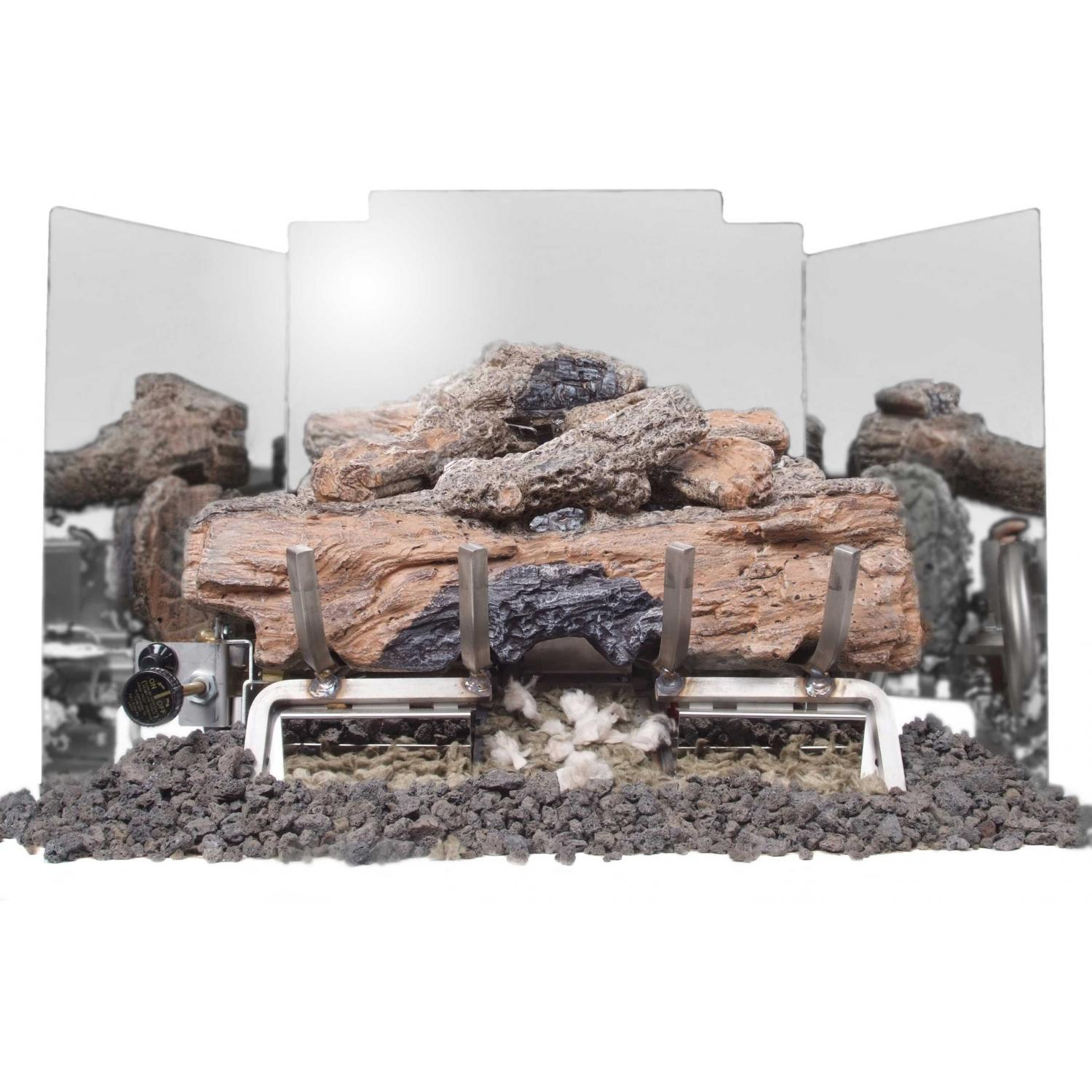 Peterson Gas Logs 18 Inch 3-Fold Contemporary Polished Stainless Steel Fireback