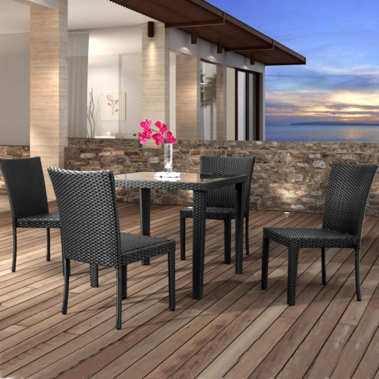 Zuo Modern Cavendish 4-person Patio Dining Set With Glass Top Table - Espresso at Sears.com