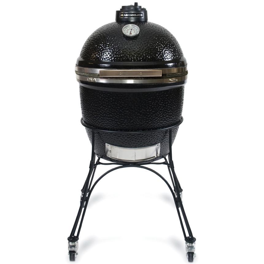 Kamado Joe BigJoe Ceramic Grill With Stainless Bands On Cart - Black, Discount ID BJ24NBS BJ-MC24