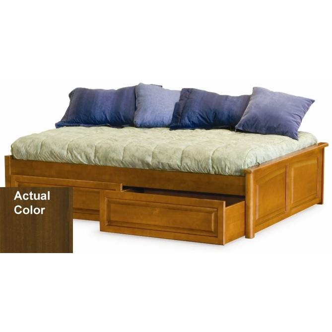 Atlantic Furniture 1002450 Concord Twin Bed With 2 Raised Panel Footboards Antique Walnut