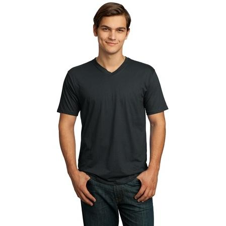 District Made Mens Perfect Weight V-Neck T-Shirt 4XL - Charcoal 2700992