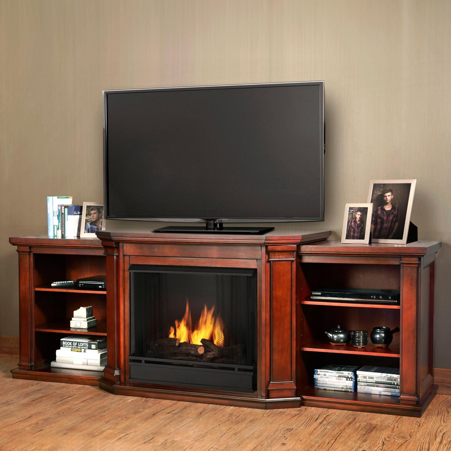 Real Flame Valmont 75-Inch Gel Fireplace Media Console - Dark Mahogany