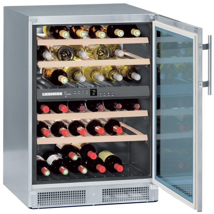 Liebherr WS-4000 40 Bottle Dual Zone Freestanding Wine Cooler - Glass Door / Stainless Steel Trim