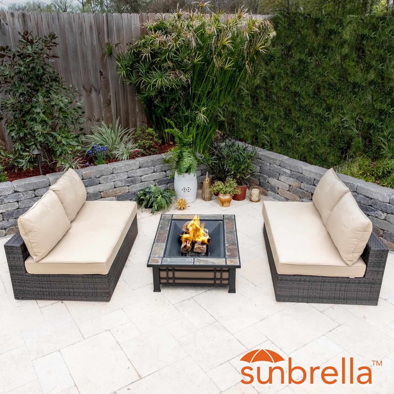 Lakeview Gentilly 3 Piece Wicker Patio Fire Pit Sectional Set W/ Sunbrella Canvas Antique Beige Cushions By