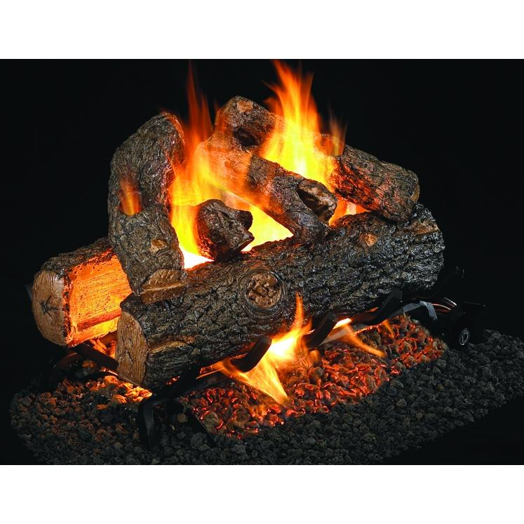 Peterson Real Fyre 12 Inch Golden Oak Designer Plus See Thru Log Set With Vented Natural Gas G4 Burner - Electronic Non-Standing Pilot And Basic On/Off Remote
