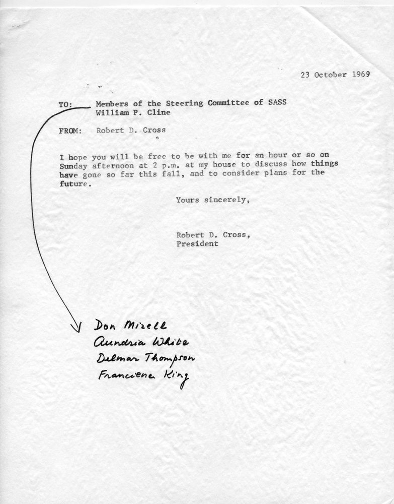 Letter- Cross to SASS steering committee, 23 October 1969.jpg