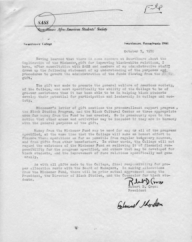 Letter- Cross to SASS, re Michener funds, 7 October 1970.jpg