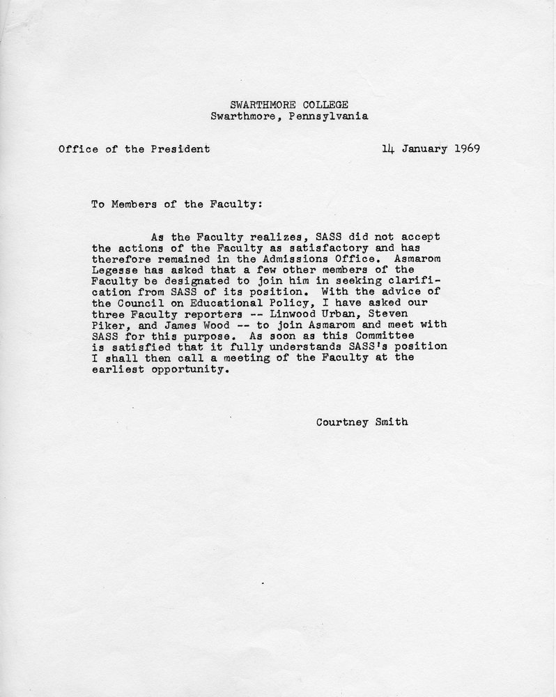 Letter_ Smith to Faculty, 14 January 1969.jpg