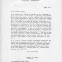 [Letter from Robert Cross to Senator Scott, 06/01/1971]