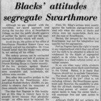 Delaware County Daily Times, _Blacks' attitudes segregate Swarthmore_ 3-18-70.jpg