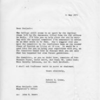 [Letter from Robert Cross to Marjorie Webb, 05/11/1971]