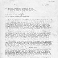 [Memorandum from Jerome Wood regarding the holding of investigative hearings, 05/03/1971]