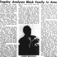 Billingsley Analyzes Black Family in America