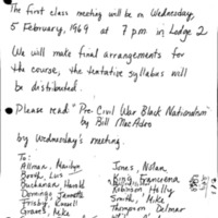 [First class meeting announcement, 02/05/1969]
