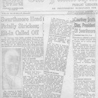 Swarthmore Head Fatally Stricken; Sit-In Called Off