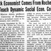 Black Economist Comes From Rochester To Teach Dynamic Social Econ. Course