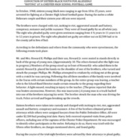 "[Legible copy of] Report on events leading up to and following the conviction of sixteen Black youth for allegedly ""rioting"" at a Chester High School football game"