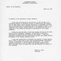 [Letter from Robert Cross to the College Community 04/29/1971]