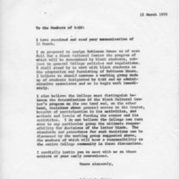 [Letter Robert Cross to SASS 03/12/1970]