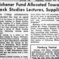 Michener Fund Allocated Toward Black Studies Lectures, Supplies