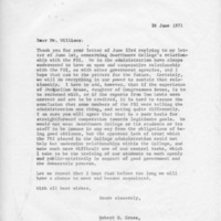 [Correspondence between Robert Cross and Congressman Williams, 06/1971]